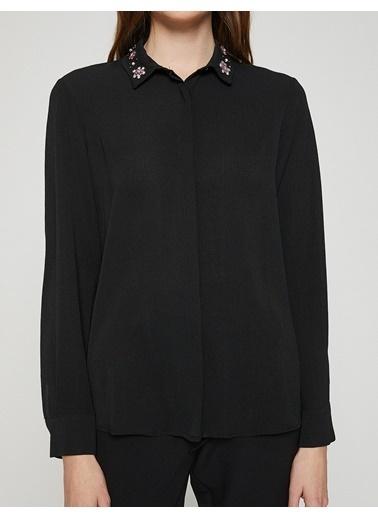 Uzun Kollu Taş Detaylı Gömlek-Koton